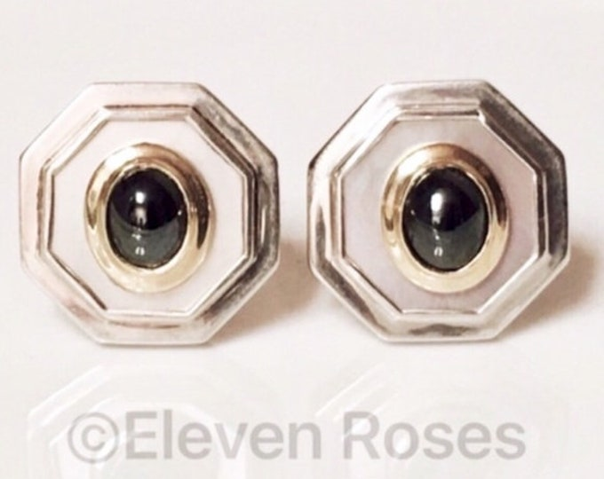 Vintage David Yurman Extra Large 585 14k Gold Mother Of Pearl MOP Earrings Free Shipping