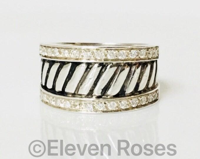 Custom Diamond Engagement Wedding Cigar Band Ring Free US Shipping