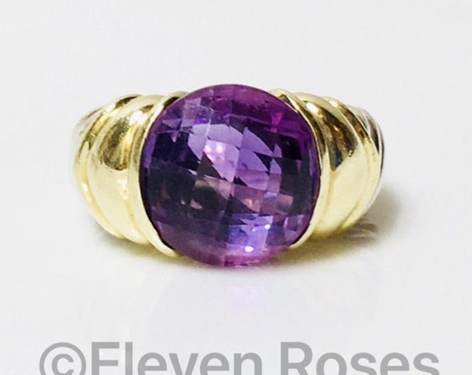 David Yurman Large Amethyst Capri Ring Two Tone 925 Sterling Silver & 585 14k Yellow Gold Free US Shipping