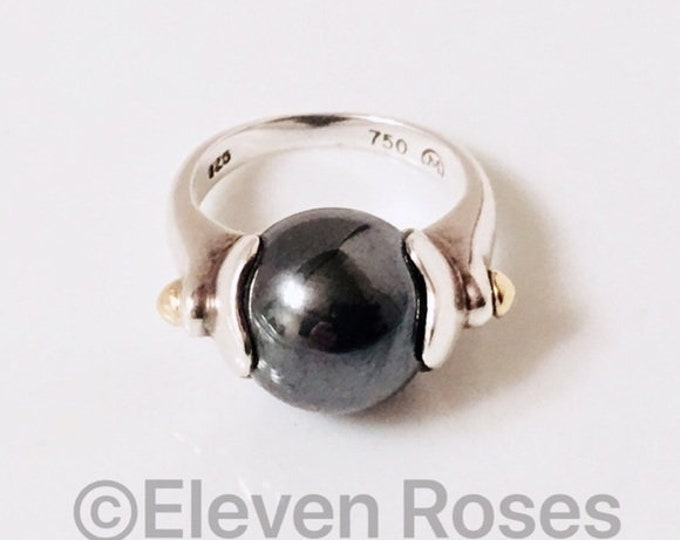 Movado Hematite Sphere Ball Ring 925 Sterling Silver & 750 18k Gold Free US Shipping