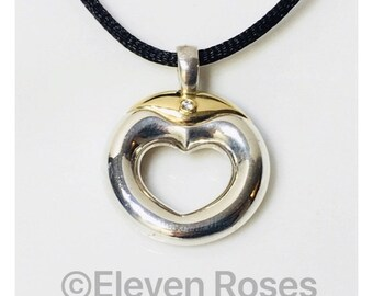Movado Diamond Heart Circle Pendant 925 Sterling Silver 750 18k Gold Free US Shipping