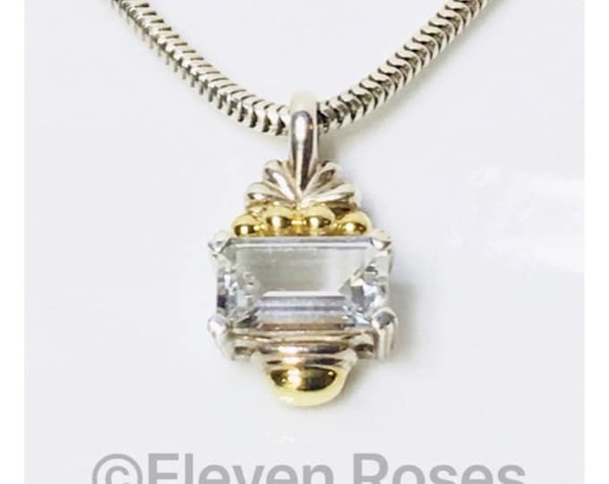 Lagos Caviar Signature White Topaz Pendant Necklace 925 Sterling Silver 750 18k Gold Free US Shipping