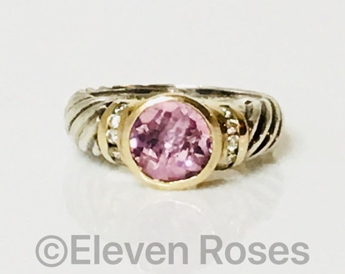 David Yurman Pink Tourmaline & Diamond Ring 750 18k Yellow Gold 925 Sterling Silver Free US Shipping
