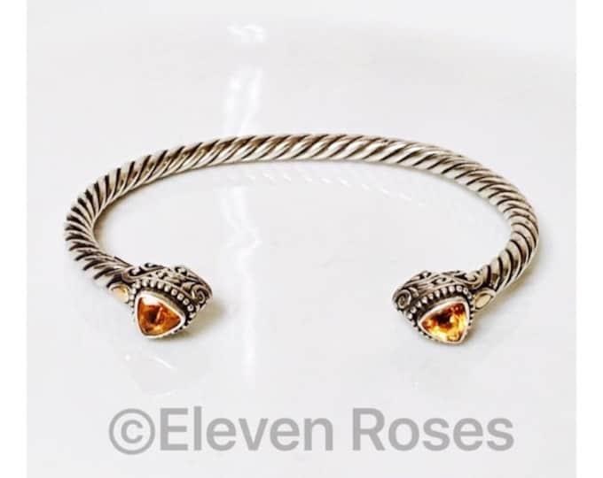 Robert Manse 925 Sterling Silver & 750 18k Gold Citrine Cuff Bracelet Free US Shipping
