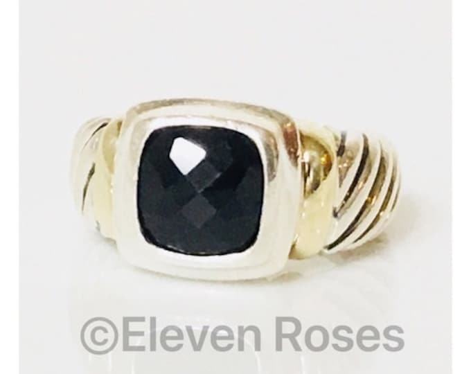 Vintage David Yurman Black Onyx Ring DY 925 Sterling Silver & 585 14k Yellow Gold Free US Shipping