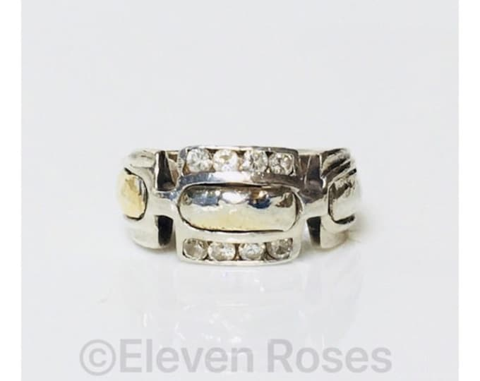 Two Tone Hammered Design Ring 925 Sterling Silver 750 18k Gold Free US Shipping