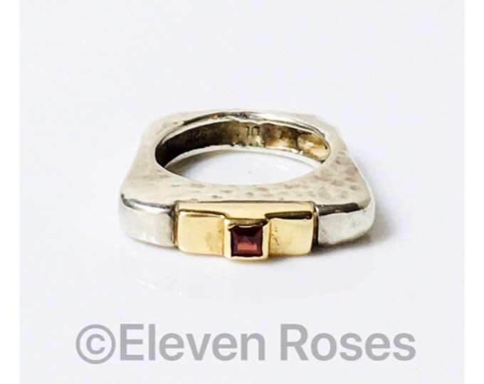 Dian Malouf Flat Square Hammered Garnet Ring Sterling Silver & 585 14k Gold Free US Shipping