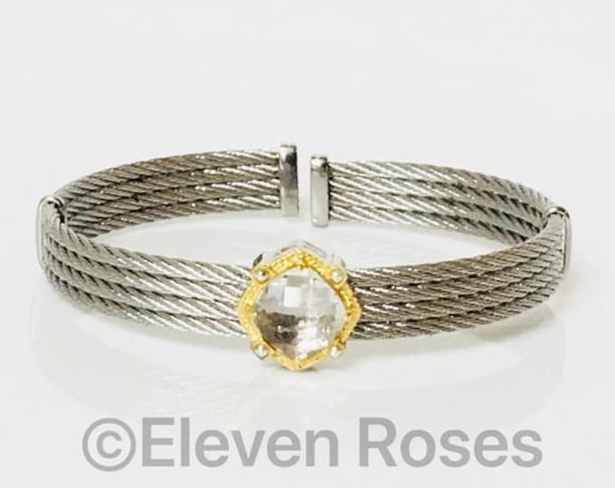 Charriol White Topaz 4 Row Cable Cuff Bracelet Steel & 750 18k Gold Free US Shipping