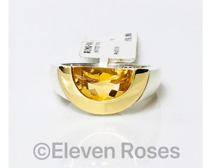 Movado Citrine Radius Ring 925 Sterling Silver & 750 18k Gold Free US Shipping