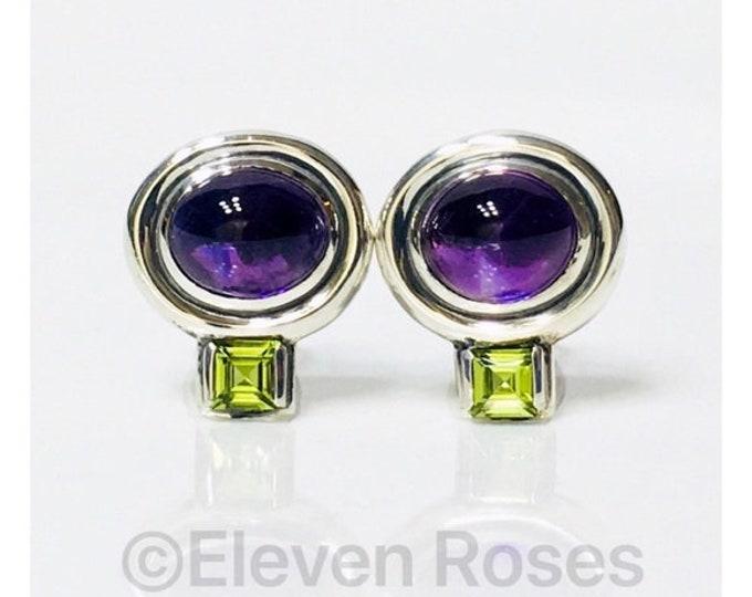 David Yurman Amethyst Peridot Renaissance Earrings 14k Gold Posts DY 925 Sterling Silver Free US Shipping