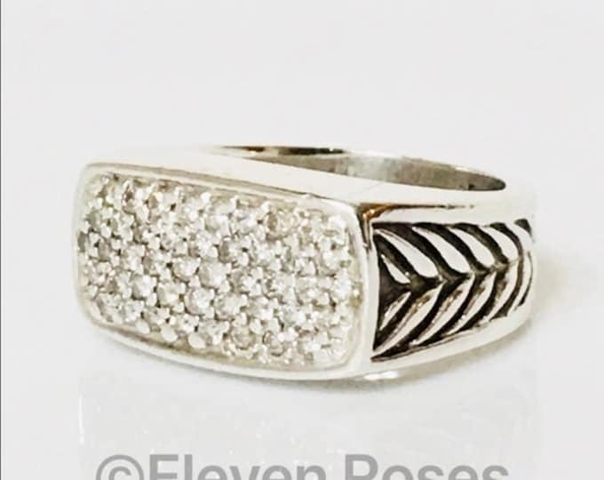 Men's David Yurman Diamond Chevron Signet Ring 925 Sterling Silver Free US Shipping