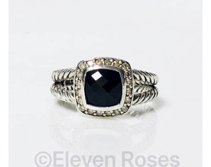 David Yurman Black Onyx Diamond Petite Albion Ring DY 925 Sterling Silver Free US Shipping