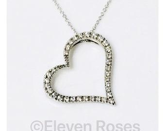 Roberto Coin 750 18k White Gold Slanted Diamond Heart Pendant Necklace Free US Shipping