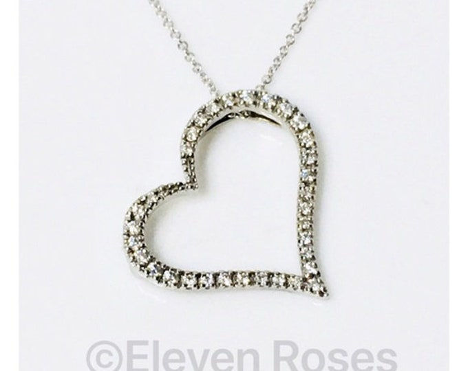 Roberto Coin 750 18k White Gold Slanted Diamond Heart Pendant Necklace Free US Shipping