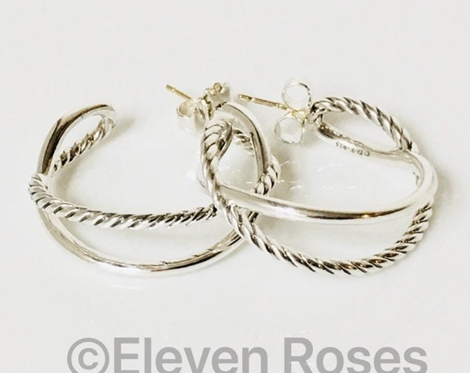 David Yurman Large Cable Crossover Earrings 925 Sterling Silver Free US Shipping