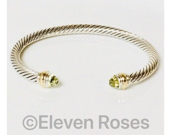 David Yurman Cable Classics Lemon Citrine Cuff Bracelet DY 585 14k Gold & 925 Sterling Silver Free US Shipping