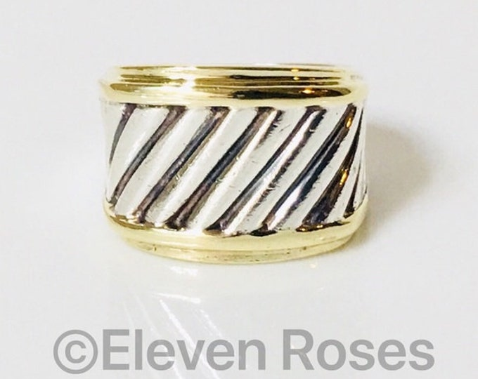 David Yurman Thoroughbred Classic Cable Wide Cigar Band Ring 925 Sterling Silver & 585 14k Gold Free US Shipping