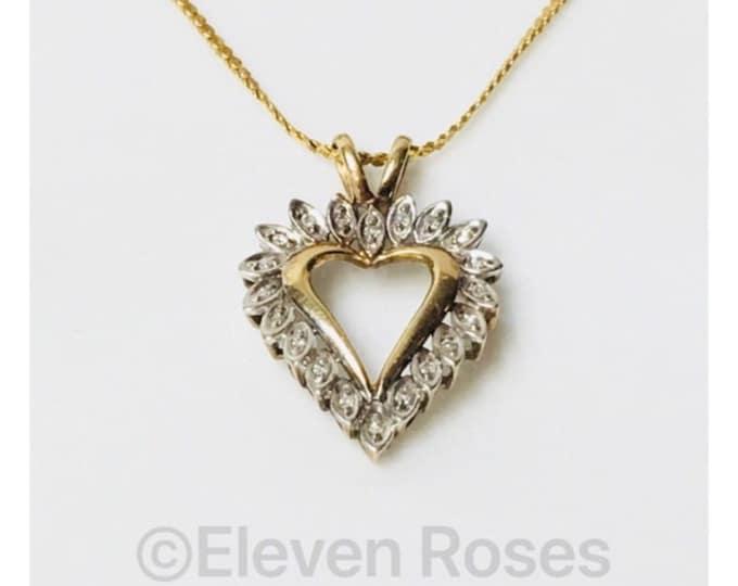 Vintage 10k Gold Diamond Heart Free US Shipping
