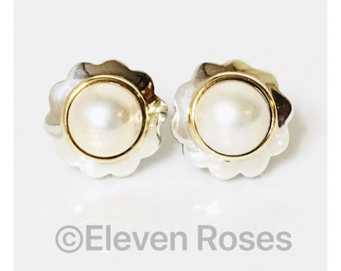 Vintage Tiffany & Co. Mabe Pearl Earrings 925 Sterling Silver 750 18k Gold Free US Shipping