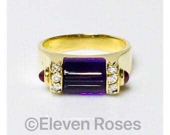 Lagos Caviar Solid 750 18k Gold Amethyst Ruby Ring Free US Shipping
