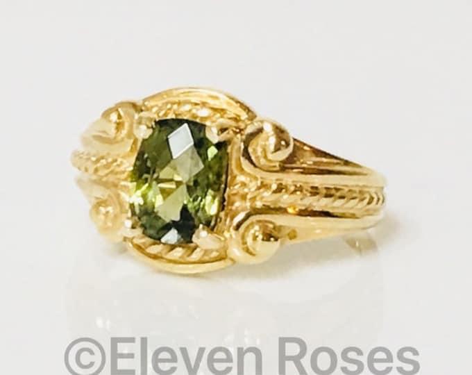 Large 585 14k Gold Green Tourmaline Ring Free US Shipping