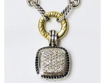 David Yurman Black White Diamond Albion Enhancer Pendant DY 925 Sterling Silver Free US Shipping