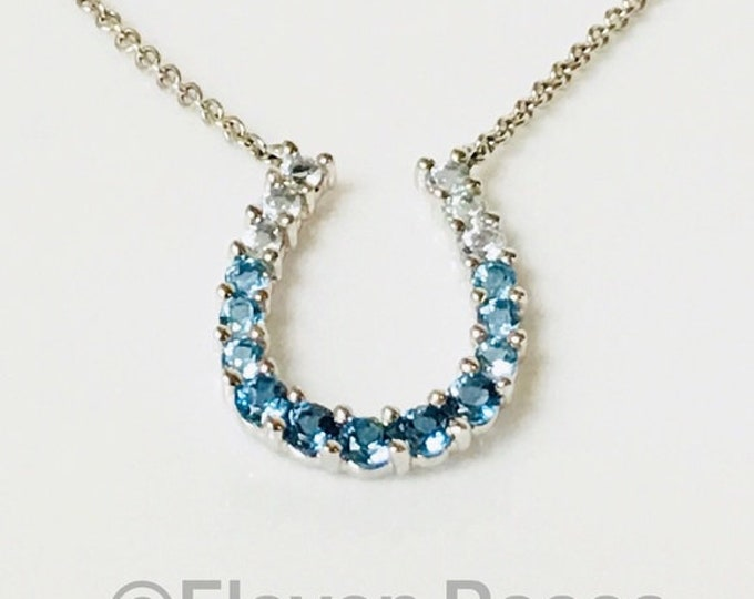 Ombre 14k Gold Blue Topaz Horseshoe Necklace Free US Shipping