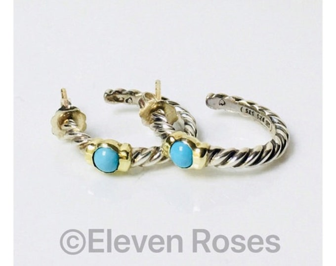 David Yurman Classic Cable Turquoise Hoop Earrings DY 925 Sterling Silver 585 14k Gold Free US Shipping