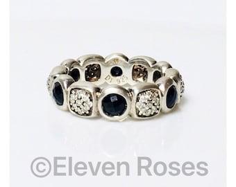 David Yurman Black Onyx & Diamond Chiclet Band Ring DY 925 Sterling Silver Free US Shipping