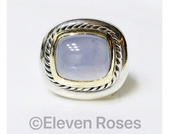David Yurman Chalcedony Albion Statement Ring DY 925 Sterling Silver & 585 14k Gold Free US Shipping