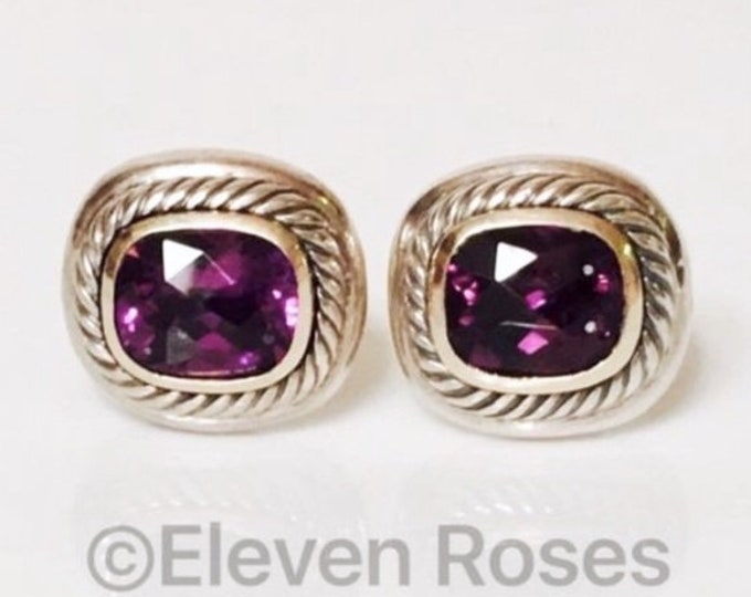 David Yurman Classic Cable Amethyst Cushion Albion Earrings 925 Sterling Silver & 585 14k Gold Free US Shipping