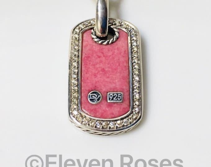 David Yurman Rhodonite Diamond Dog Tag Pendant With Box Chain Necklace 925 Sterling Silver Free US Shipping