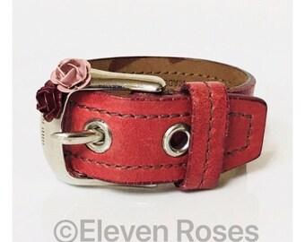 Miu Miu Red Leather Enamel Flower Buckle Bracelet Free US Shipping
