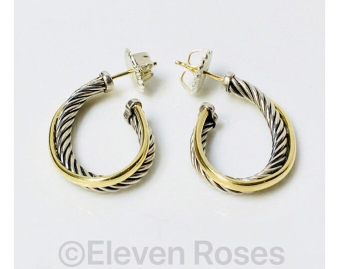 David Yurman Oval Cable Crossover Hoop Earrings 925 Sterling Silver 750 18k Gold Free US Shipping