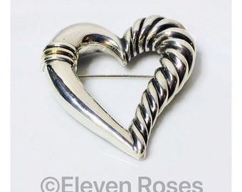 David Yurman Extra Large Classic Cable Heart Brooch DY 925 Sterling Silver & 585 14k Yellow Gold Free US Shipping