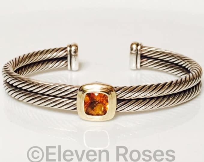 David Yurman Citrine Double Cable Noblesse Cuff Bracelet 925 Sterling Silver & 750 18k Gold Free US Shipping