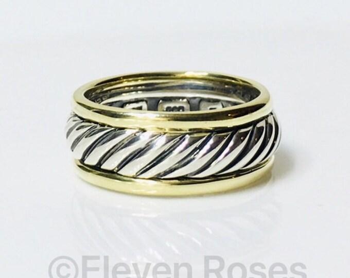 Mens David Yurman Classic Cable Band Ring 925 Sterling Silver 585 14k Gold Free US Shipping