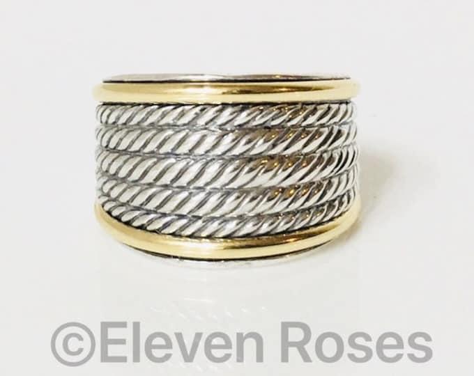 David Yurman Wide Wheaton Band Ring 925 Sterling Silver 750 18k Gold Free US Shipping