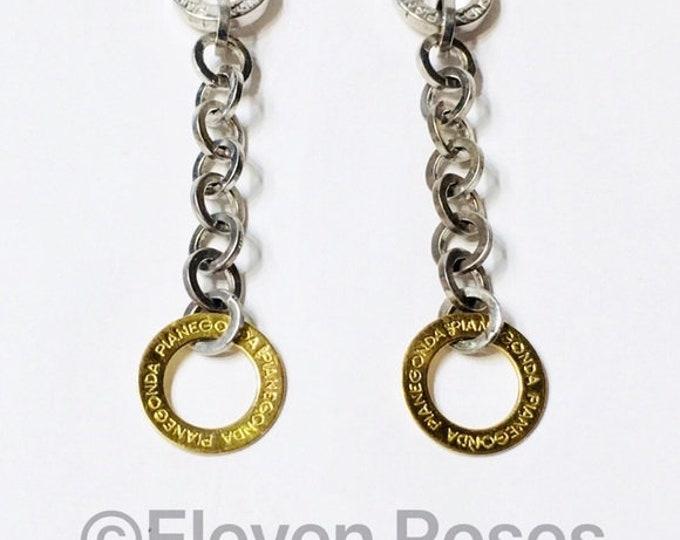 Pianegonda Long Chain Charm Dangle Earrings 750 18k Gold 925 Sterling Silver Free US Shipping