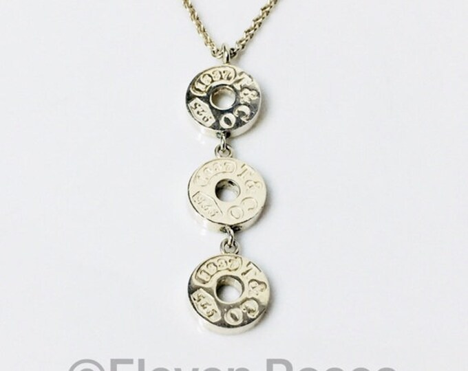 Tiffany & Co. 1837 Triple Drop Disc Pendant Necklace 925 Sterling Silver Free US Shipping
