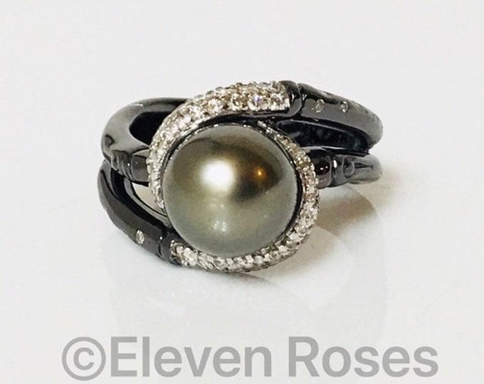 John Hardy Bamboo Tahitian Pearl & Diamond Ring Free US Shipping
