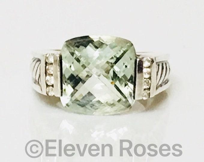 David Yurman Prasiolite & Diamond Deco Ring 925 Sterling Silver Free US Shipping