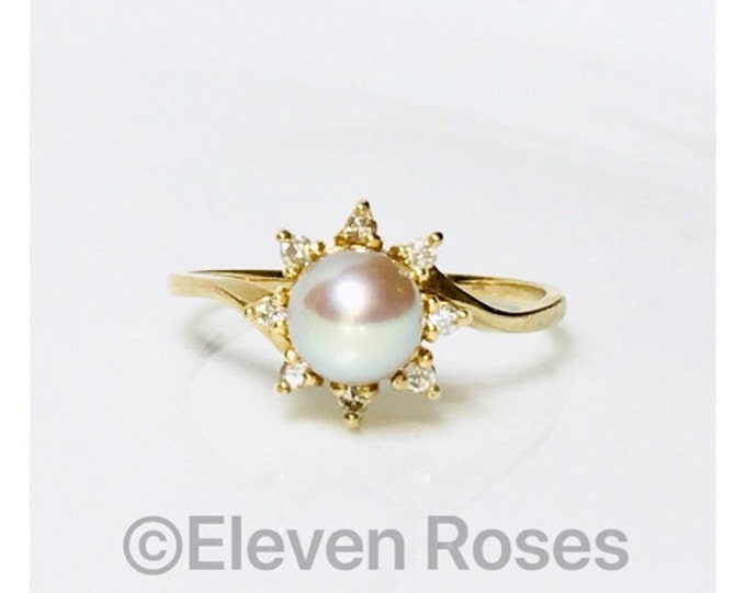 Na Hoku 585 14k Gold Pearl & Diamond Ring Free US Shipping