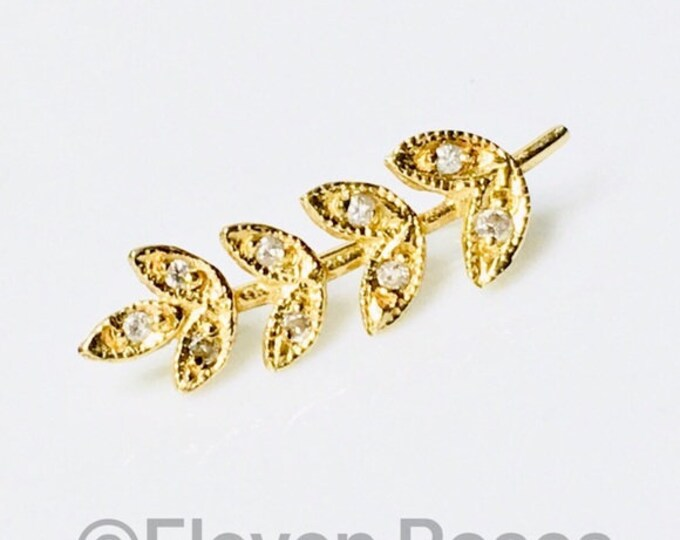 Jacquie Aiche 585 14k Gold & Diamond Leaves Ear Cuff Climber Crawler Free US Shipping