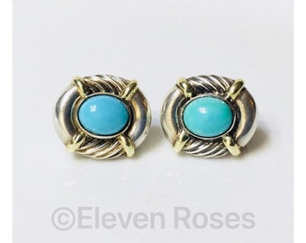 David Yurman Classic Cable Turquoise Albion Earrings 925 Sterling Silver 585 14k Gold Free US Shipping