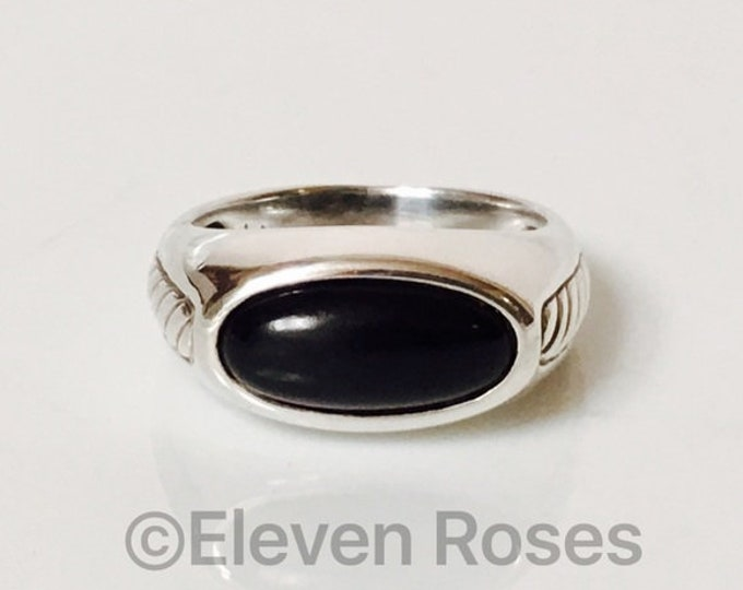 Mens David Yurman Black Onyx Inset Cable Ring DY 925 Sterling Silver Free US Shipping