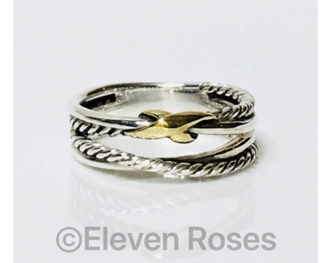 David Yurman Two Tone X Cable Crossover Ring DY 925 Sterling Silver 750 18k Gold Free US Shipping