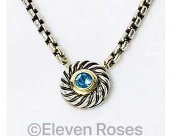 David Yurman Blue Topaz Cable Cookie Necklace DY 925 Sterling Silver 585 14k Gold Free US Shipping