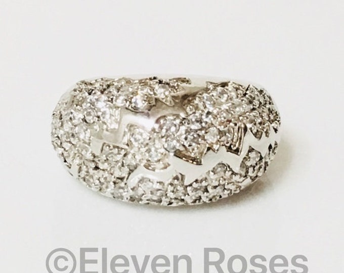 Large 925 Sterling Silver Zig Zag CZ Dome Ring Free US Shipping