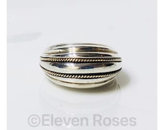 Vintage Two Tone Large Milgrain Dome Ring 925 Sterling Silver 585 14k Gold Free US Shipping